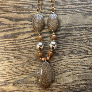 Silver Strike Brown Glass & Gold Necklace Set!!!